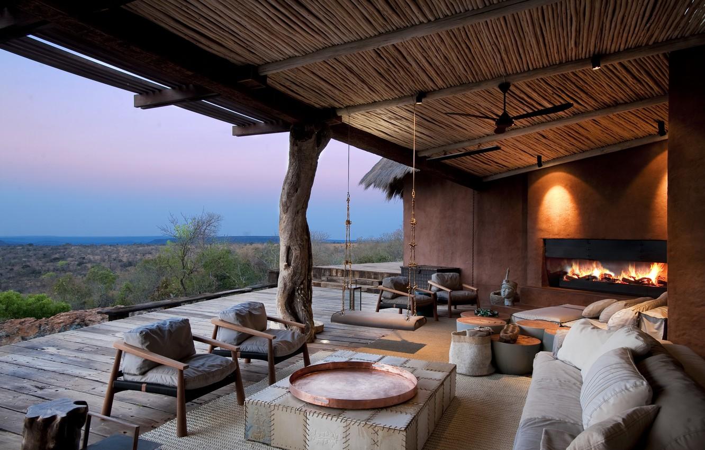 Фото обои мебель, камин, терраса, South Africa, lodge Leobo
