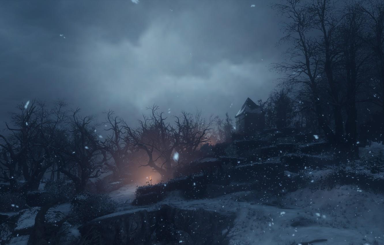Фото обои снег, ночь, a plague tale: innocence