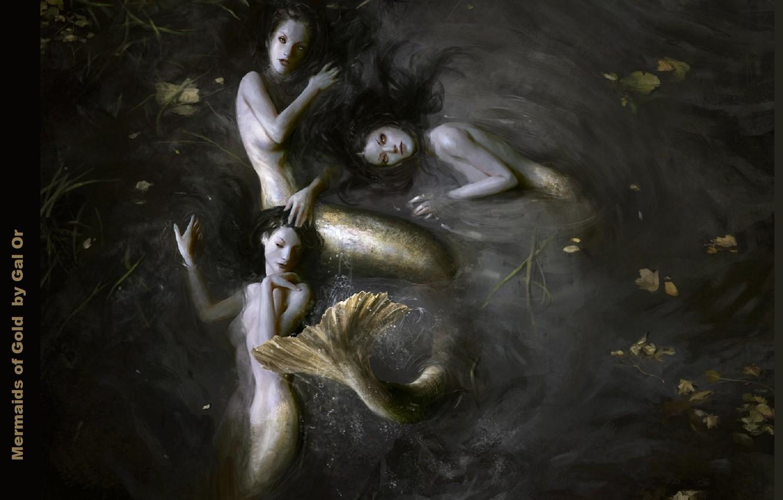 Фото обои хвост, русалки, длинные волосы, в воде, чешуйки, три девушки, листья в воде, mermaids, Mermaid of …