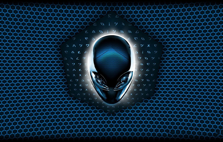 Фото обои темный фон, игра, круг, логотип, голова, подсветка, пришелец, logo, game, alien, Alienware, circle, head, dark …
