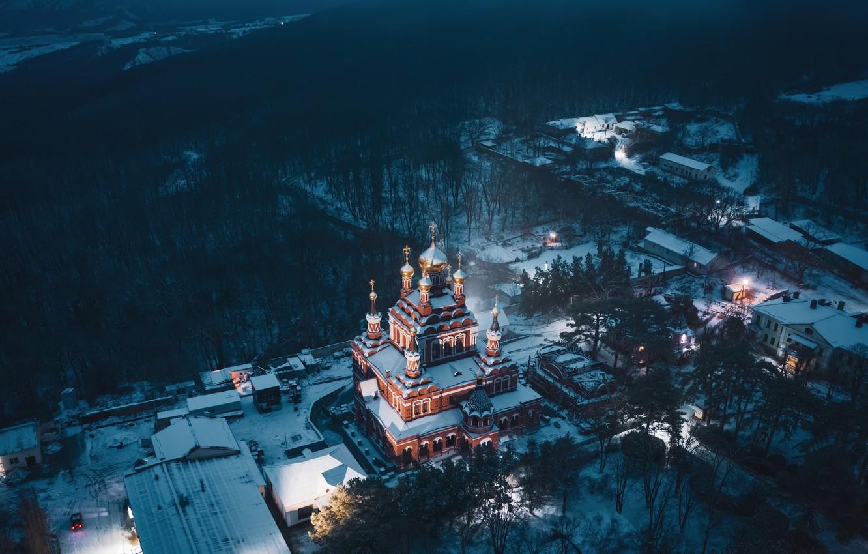 Фото обои зима, снег, пейзаж, природа, Крым, Свято-Троице-Параскевиевский Топло́вский монастырь