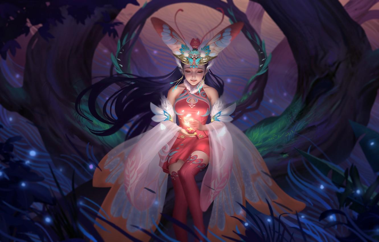 Фото обои лес, ночь, свеча, сказка, фея, фэнтези, арт, мотылёк, легенда, миф, Hou China, Fairy 仙 Мотылек …