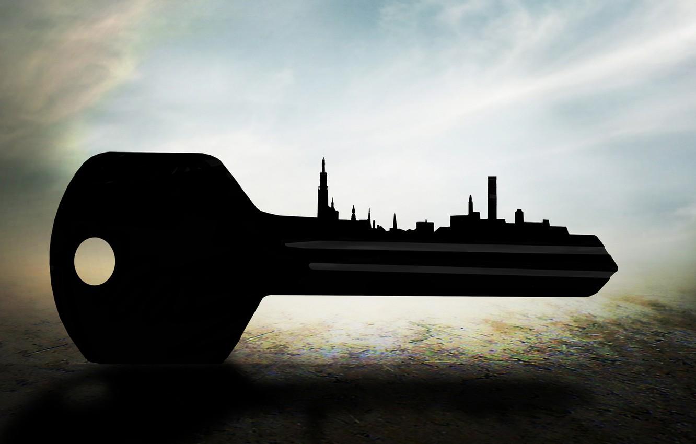 Фото обои небо, ключ, силуэт, sky, key, silhouette, Ben Goossens