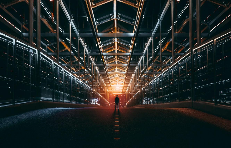 Фото обои дорога, свет, человек