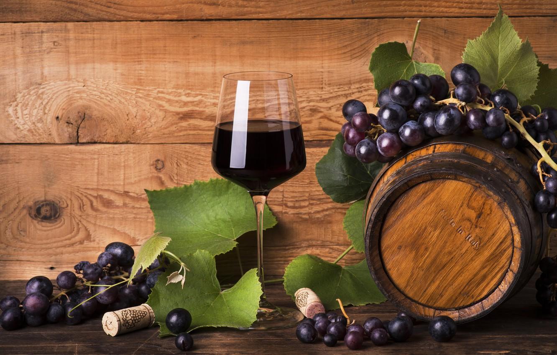 Фото обои вино, красное, бокал, виноград, бочка, wood, red wine