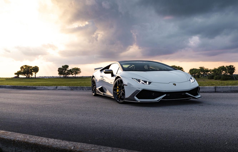 Фото обои Lamborghini, Clouds, Sunset, Evening, Silver, Performante, Huracan