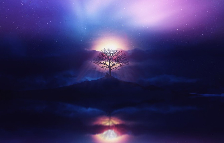 Фото обои aurora, sky, sea, ocean, sunset, clouds, stars, tree, boy, purple