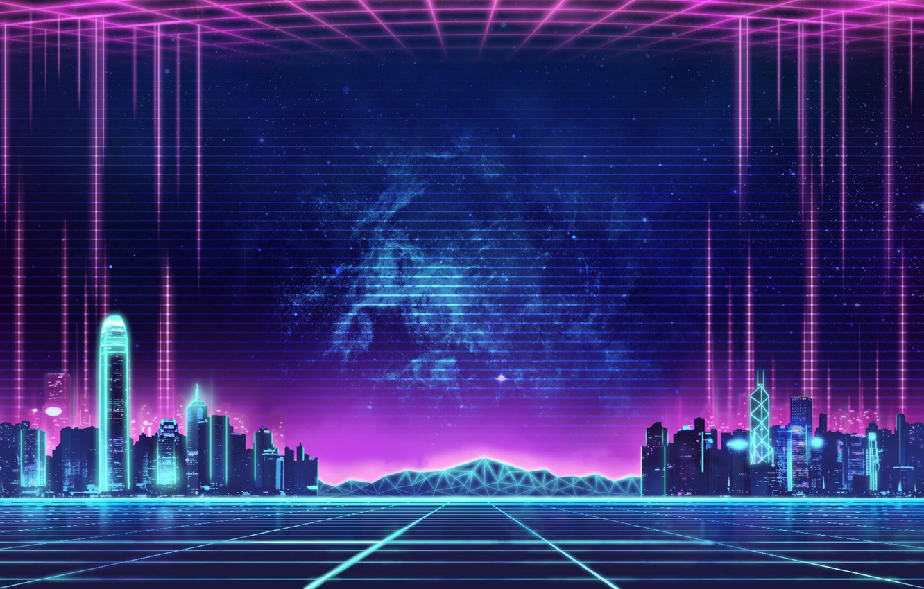 Фото обои Музыка, Город, Фон, City, 80s, Neon, 80's, Synth, Retrowave, Synthwave, New Retro Wave, Futuresynth, Синтвейв, ...