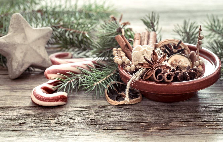 Фото обои украшения, Рождество, Новый год, christmas, wood, винтаж, специи, decoration, fir tree, ветки ели