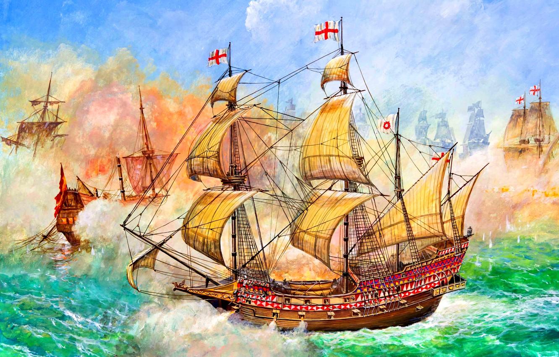 Фото обои Галеон, HMS Revenge, 46 пушечный, Фрэнсиса Дрейка, Морское сражение