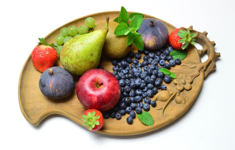 Фото обои ягоды, доска, фрукты