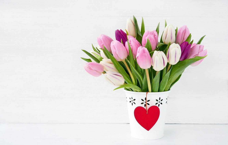 Фото обои розовый, праздник, букет, тюльпаны, день влюбленных, кашпо