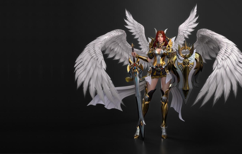 Фото обои крылья, меч, доспехи, броня, воительница, бронелифчик, 3d, щит меч