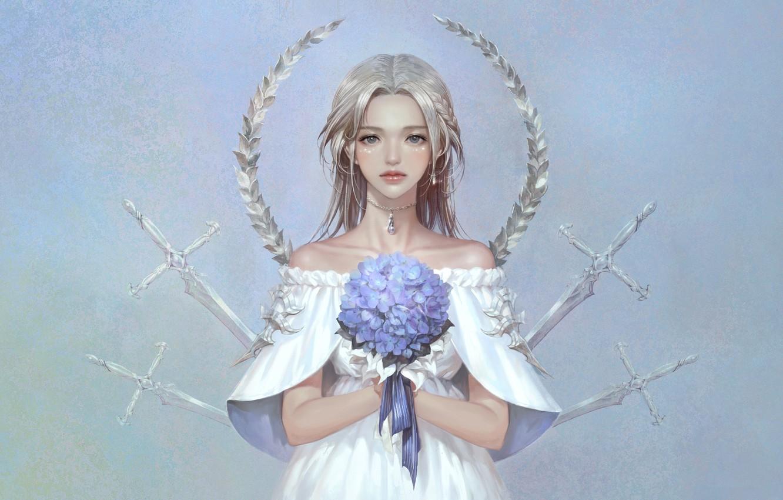 Фото обои Цветы, Девушка, Минимализм, Взгляд, Стиль, Girl, Меч, Fantasy, Мечи, Арт, Art, Flower, Flowers, Style, Фантастика, …