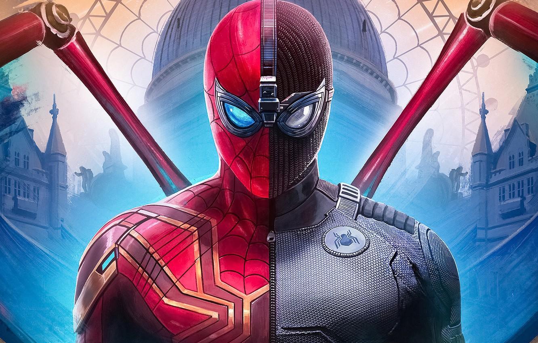 Фото обои фантастика, арт, костюм, комикс, MARVEL, Spider-Man, Peter Parker, Spider-Man: Far From Home, Человек-паук: Вдали от …