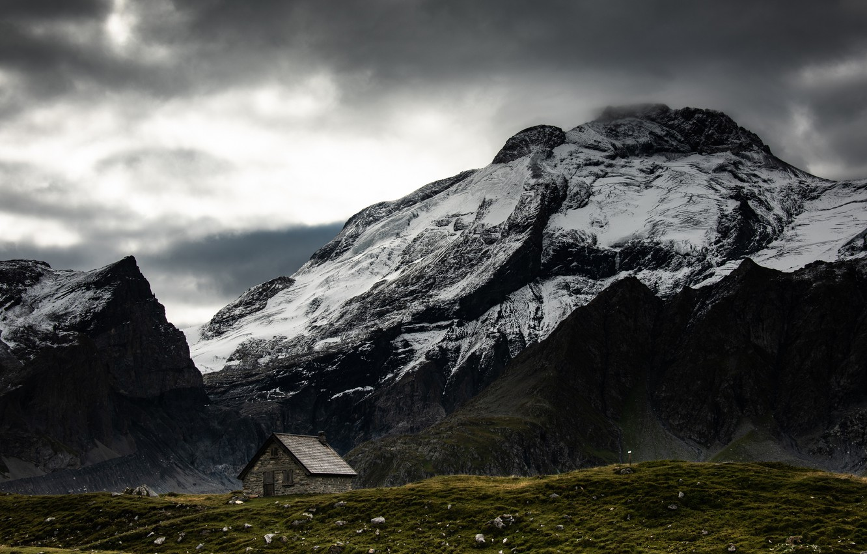 Фото обои снег, горы, домик