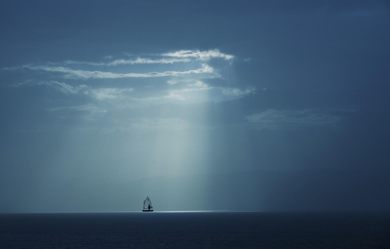 Фото обои море, небо, лучи, яхта, sky, sea, rays, yacht