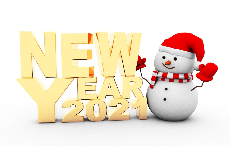 Фото обои Новый год, снеговик, new year, happy, snowman, 2021