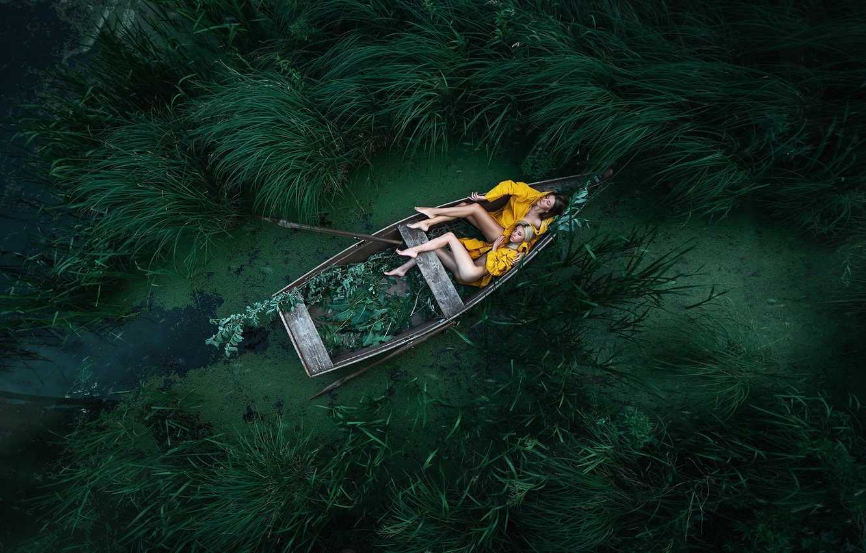 Фото обои сон, две девушки, в лодке, Максим Густарёв, Максим Густарев