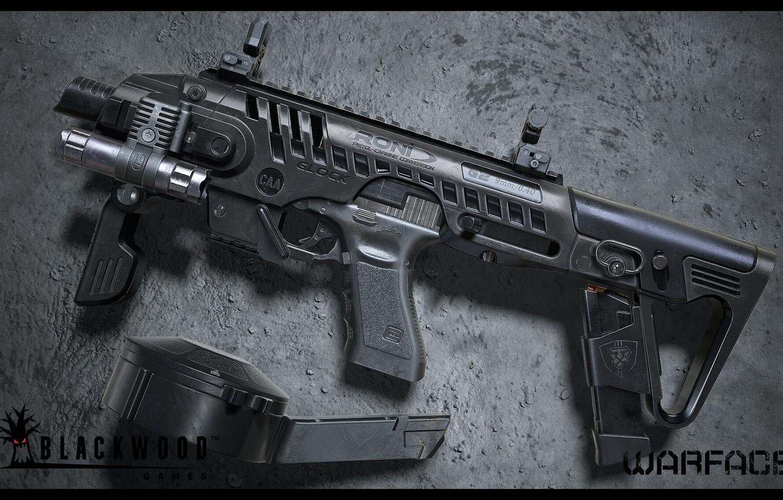Фото обои рендеринг, оружие, gun, weapon, render, custom, глок, glock, Warface, штурмовая винтовка, assault Rifle, Варфейс, Blackwood …