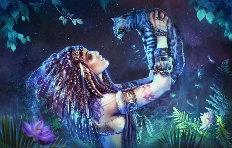Фото обои кошка, девушка, перья, индианка, фотоарт, роуч, Алексей Бубнов, Алина Акинжала