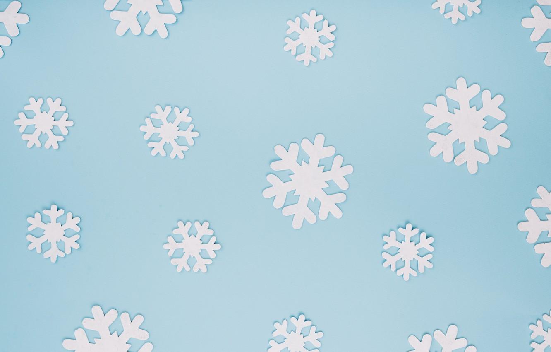 Фото обои зима, снежинки, фон, голубой, Christmas, blue, winter, background, snowflakes