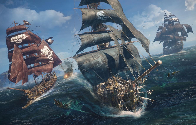 Фото обои вода, океан, корабли, Череп и кости, E3 2018, Skull & Bones