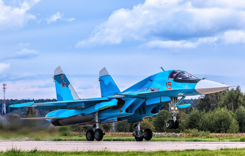 """Фото обои взлёт, истребитель-бомбардировщик, СУ-34, сверхзвуковой, многофункциональный, поколение 4++, изделие «Т-10В», """"утёнок"""""""