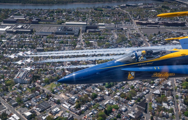 Фото обои Thunderbirds, Blue Angels, New Jersey, Philadelphia