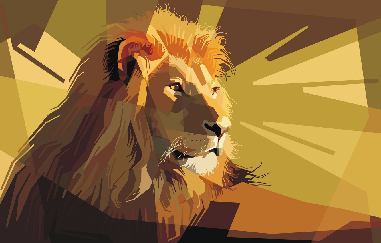 Фото обои морда, грива, Лев, царь зверей, уши, low poly