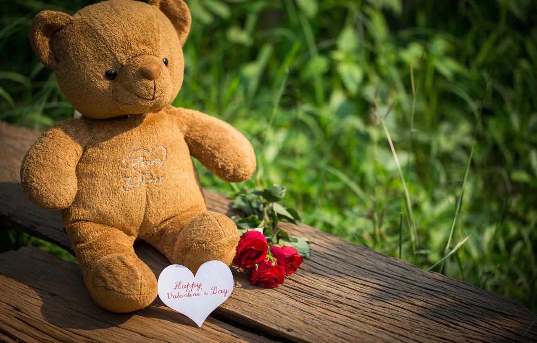 Фото обои любовь, цветы, подарок, игрушка, сердце, розы, мишка, red, love, bear, heart, wood, flowers, romantic, teddy, …