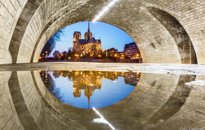 Фото обои Франция, Париж, Нотр-Дам де Пари, необычный ракурс