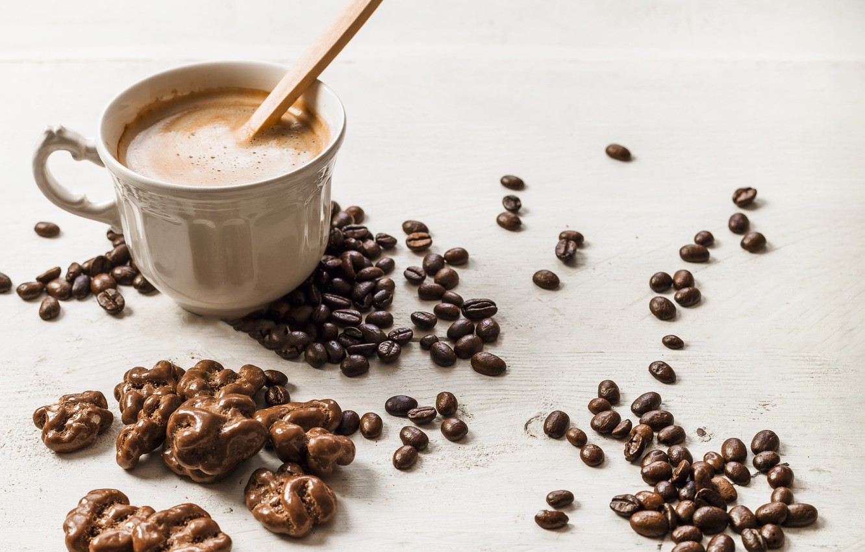 Обои coffee beans, coffee, wood, кофе, чашки, кофейные зёрна. Еда foto 7