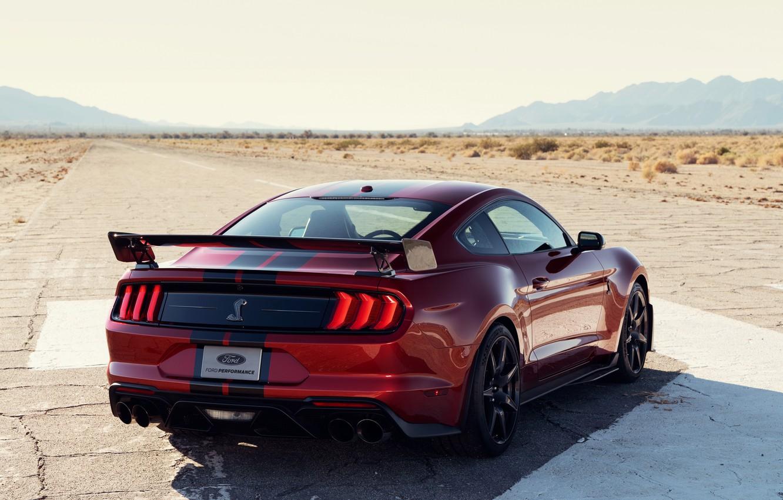 Фото обои машина, асфальт, полоски, красный, стиль, купе, фонари, спойлер, Ford Mustang Shelby GT500
