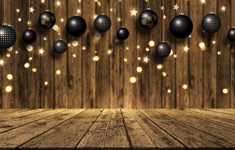 Фото обои фон, доски, golden, золотой, christmas, gold, new year, balls, wood, background, боке, bokeh, celebration, sparkle