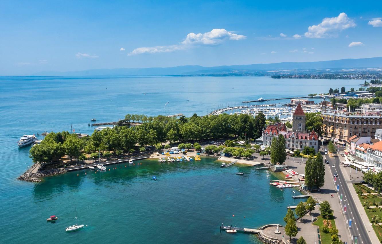 Обои Пейзаж, причалы, лодки, ticino, швейцария, дома, ascona, набережная. Города foto 9