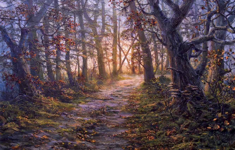 Фото обои осень, лес, деревья, рисунок, тропа, картина, арт, живопись