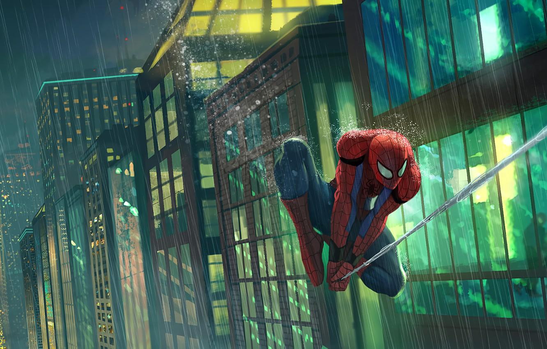 Фото обои City, Art, New York, Rain, Peter Parker, Spider Man