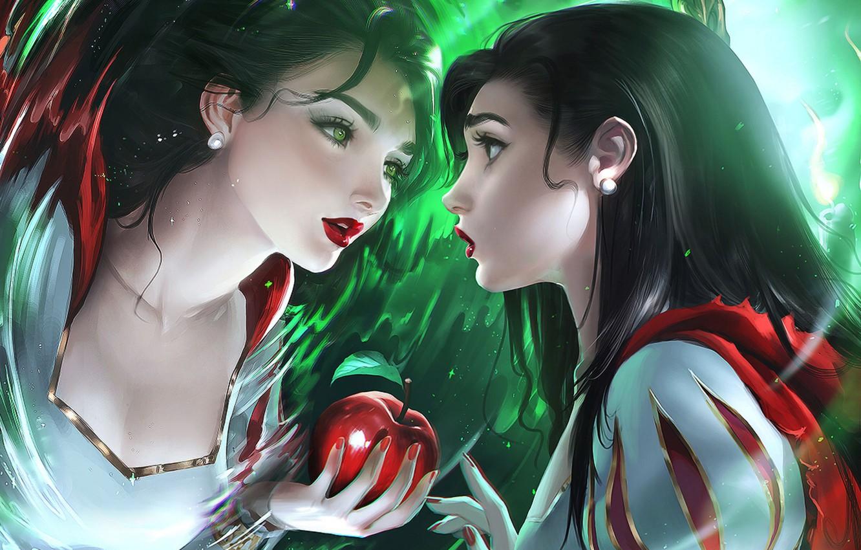 Фото обои apple, anime, disney, reflection, mirror, anime girl, tale, magic mirror, childish story, snow White