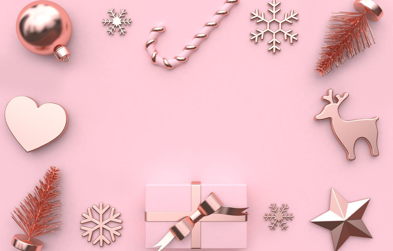 Фото обои украшения, фон, розовый, шары, Новый Год, Рождество, Christmas, balls, pink, New Year, gift, decoration, xmas, …