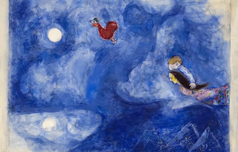 Фото обои Marc Chagall, Марк Шагал, MARC CHAGALL, decor for Aleko, Алеко, Aleko and Zemphira by Moonlight, …