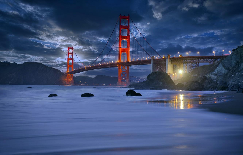 Фото обои San Francisco, Marshall Beach, Rush Waves, golden gate bride