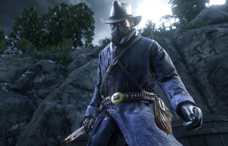 Фото обои горы, шляпа, маска, нож, перчатки, револьвер, Rockstar, Бандит, Red Dead Redemption 2, Arthur Morgan