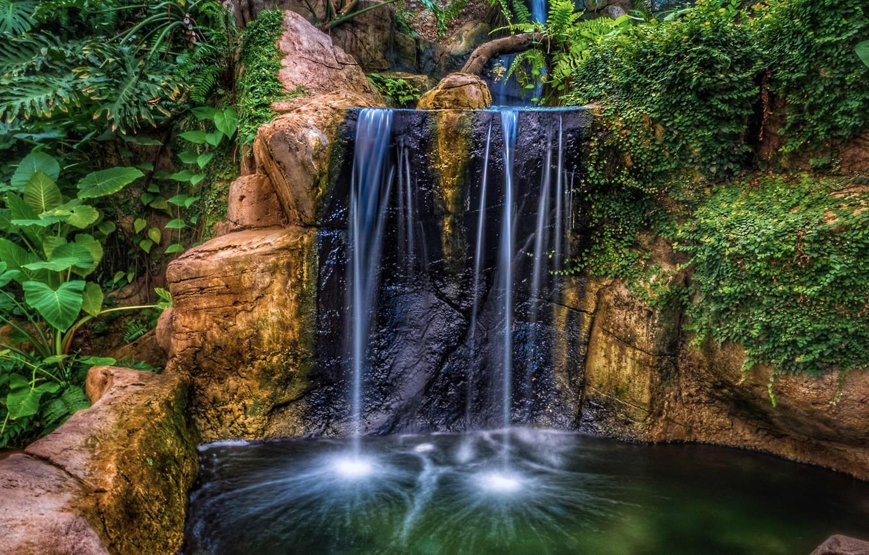 Фото обои вода, скала, парк, водопад, HDR, растения, утес, nature, park, waterfalls, plants