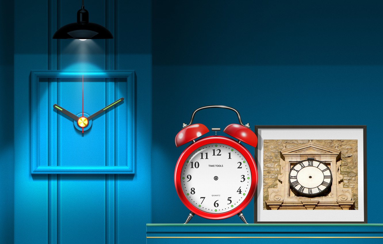 Фото обои creative wallpaper, interior, clock, lighting, lighting effects, my works, no hands