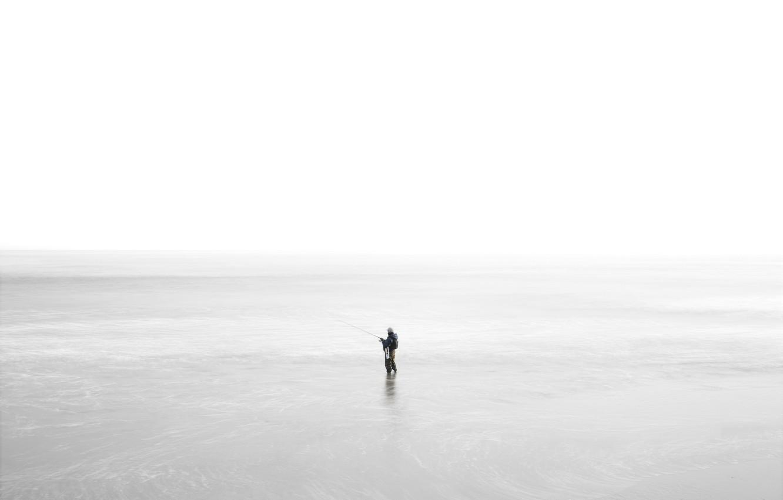 Фото обои море, природа, рыбак