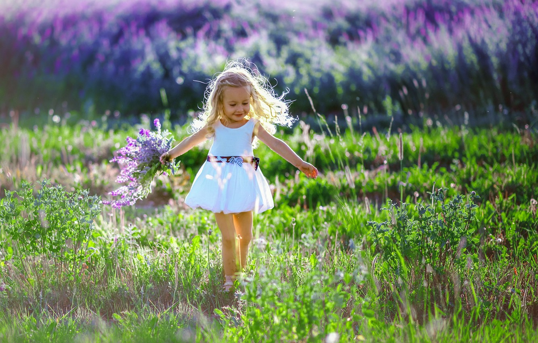 Фото обои поле, лето, радость, природа, букет, платье, девочка, травы, малышка, ребёнок, лаванда, Anna Sapegina