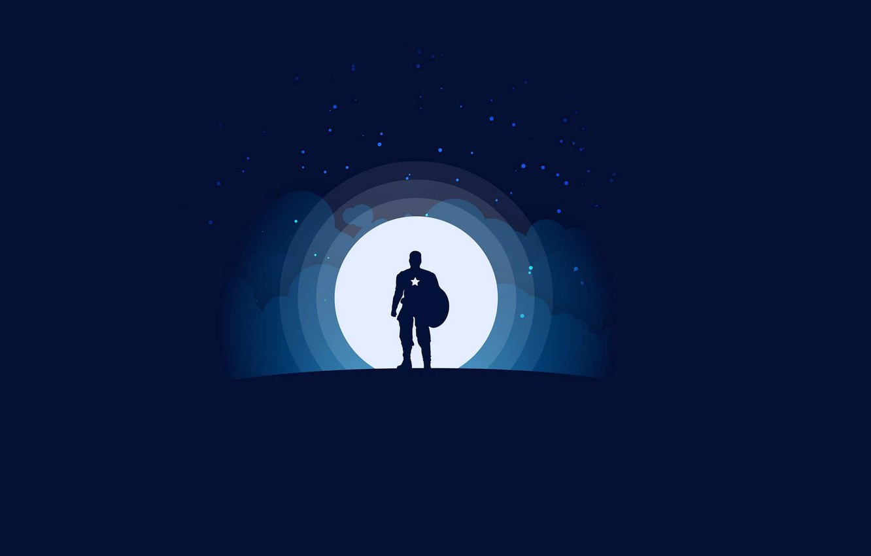 Фото обои moon, minimalism, clouds, stars, Marvel, Captain America, blue background, digital art, artwork, superhero, shield, silhouette, …