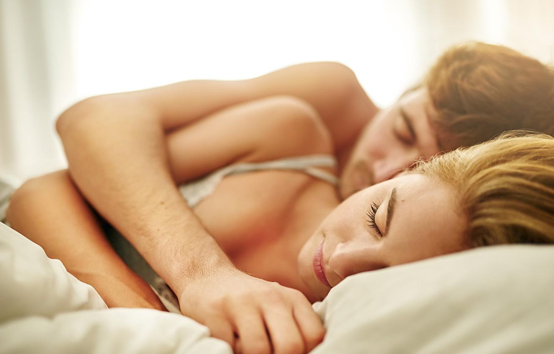 Фото обои woman, man, hug, couple, bed