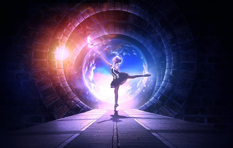 Фото обои небо, облака, свет, танец, туннель, белая, балерина, голубка